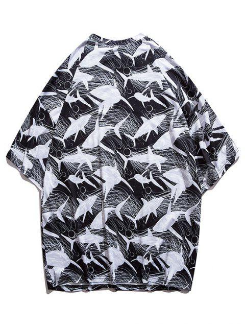 online Whale Sketch Print Drop Shoulder T-shirt - BLACK M Mobile