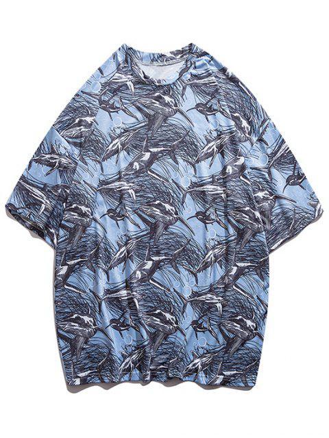 T-shirt Especial de Emagrecimento Emenda de Mangas Curtas para Homens - Azul claro L Mobile