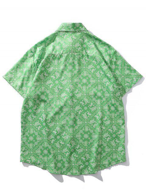 Paisley Offener Druck Taschen Urlaub Hemd - Grünlisches Gelb XL Mobile