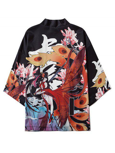ladies Floral Geisha Samurai Print Oriental Kimono Cardigan - BLACK 2XL Mobile