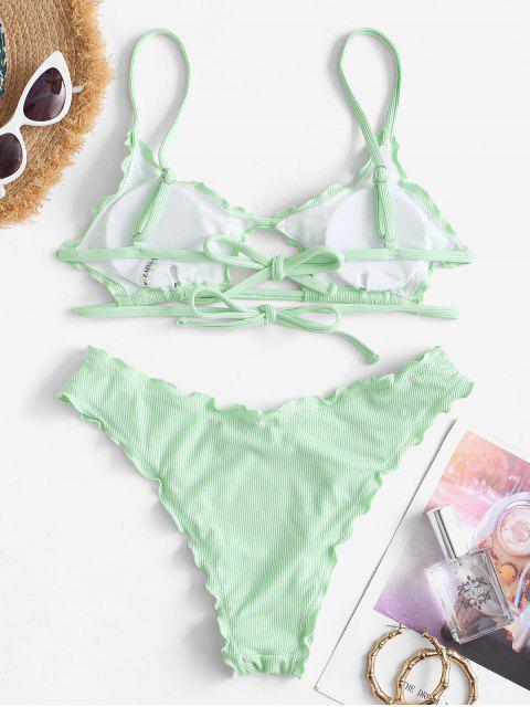 ZAFUL Bikinibadebekleidung mit Geripptem Salatbesatz - Minzgrün S Mobile