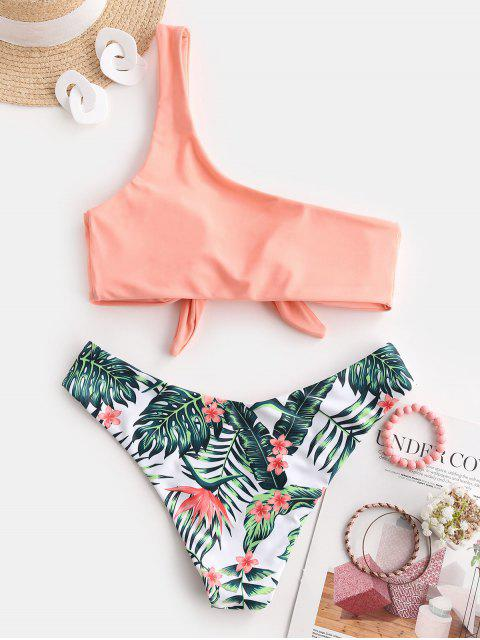 womens ZAFUL Tie It Up Palm Leaf One Shoulder Bikini Swimwear - LIGHT SALMON S Mobile