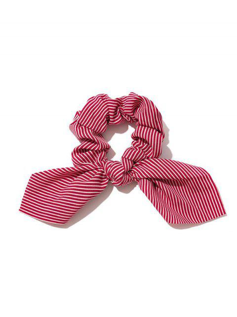 Bunny Ear Striped Elastic Scrunchie - نبيذ احمر  Mobile