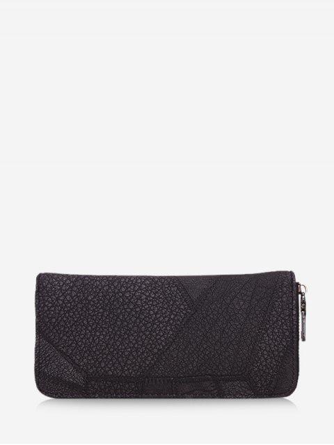 fancy Retro Textured Zipper Clutch Bag - BLACK  Mobile