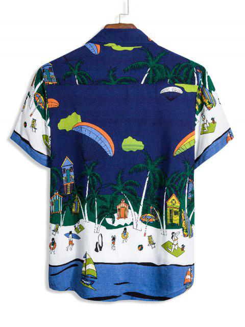 latest Cartoon Beach Landscape Print Turn Down Collar Shirt - DEEP BLUE 2XL Mobile