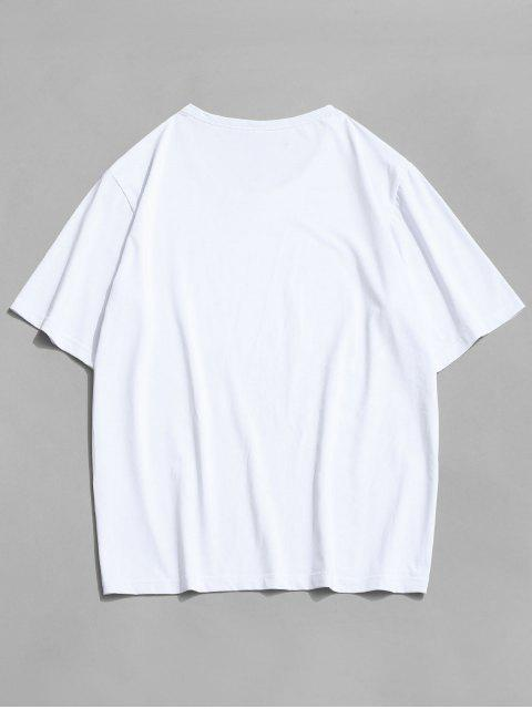 T-Shirt con Stampa a Bandiera Americana di ZAFUL - Bianca M Mobile