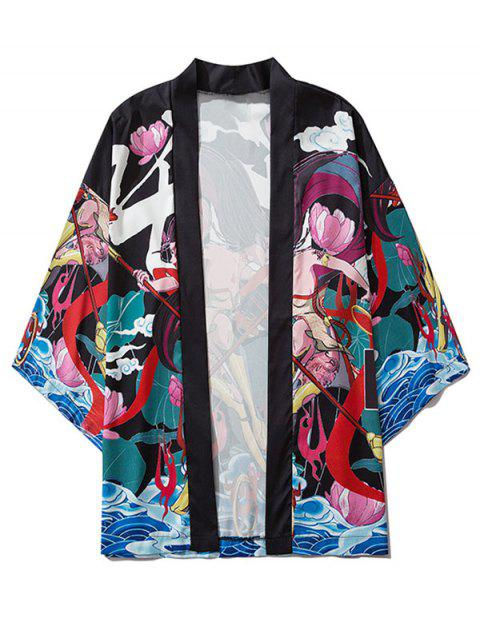 lady Cartoon Graphic Print Open Front Kimono Cardigan - BLACK XL Mobile
