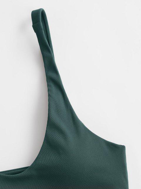 fashion ZAFUL Forest Deep Silence Ribbed Bikini Swimwear - PEACOCK BLUE S Mobile
