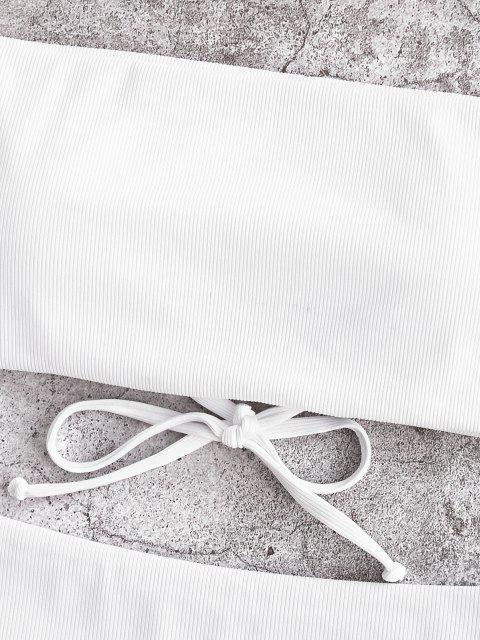 unique ZAFUL Ribbed Lace-up Bandeau Bikini Swimwear - WHITE S Mobile