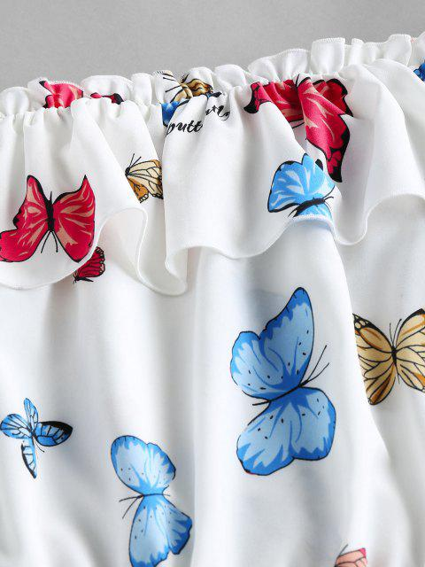 womens ZAFUL Ruffled Off Shoulder Butterfly Print Crop Blouse - WHITE L Mobile