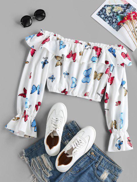 ZAFUL Blusa Corta con Estampado de Mariposa con Volantes de Hombro Descubierto - Blanco M Mobile