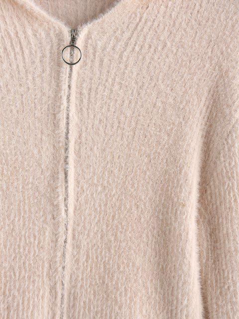 ladies ZAFUL Fuzzy Zip Fly Hooded Cardigan - SAKURA PINK M Mobile