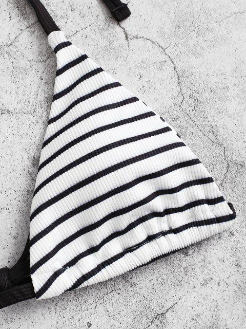 outfit ZAFUL Halter Striped Ribbed Bikini Swimwear - BLACK M Mobile