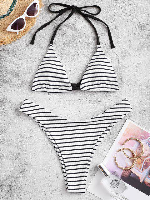 ZAFUL Maillot de Bain Bikini Rayé Côtelé à Col Halter - Noir L Mobile