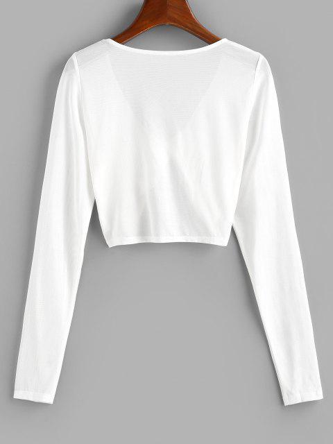 women's ZAFUL Mesh See Thru Twisted Crop T-shirt - WHITE S Mobile