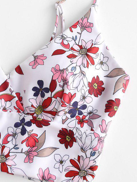 ZAFUL Maillot de Bain Tankini Superposé Fleuri en Avant - Rouge Vineux S Mobile