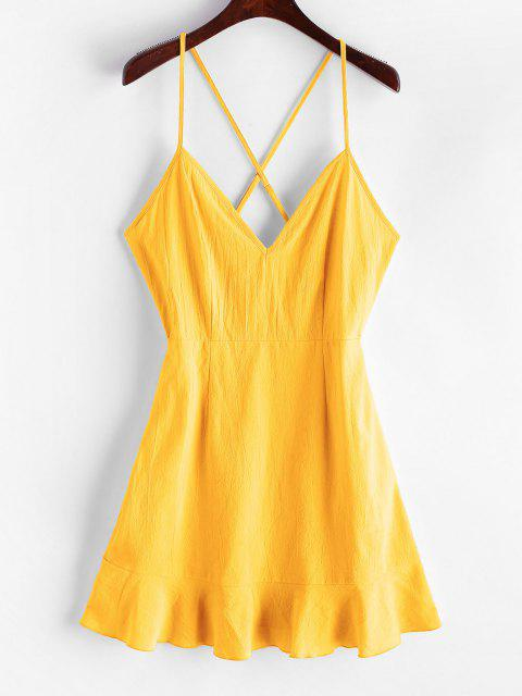 outfits ZAFUL Ruffles Criss Cross Solid Cami Dress - BRIGHT YELLOW L Mobile