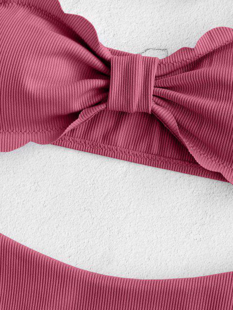 women's ZAFUL Scalloped Ribbed Bow Bandeau Bikini Swimwear - PALE VIOLET RED M Mobile