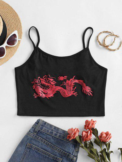 Dragon Print Oriental Adjustable Strap Crop Cami Top - Red S