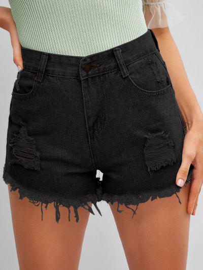 Frayed Hem Ripped Denim Cutoff Shorts - Black L
