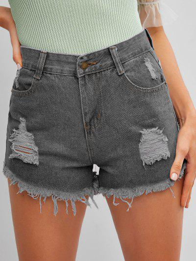 Frayed Hem Ripped Denim Cutoff Shorts - Carbon Gray M