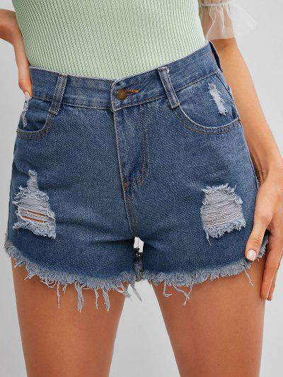 Frayed Hem Ripped Denim Cutoff Shorts - Denim Dark Blue L