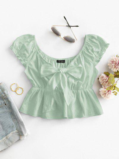 ZAFUL Frilled Knotted Flounce Peplum Blouse - Light Green S