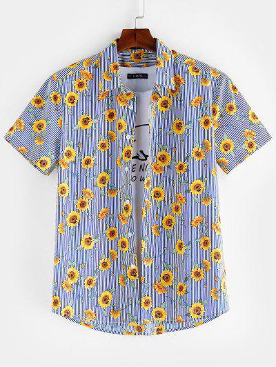 ZAFUL Floral Pattern Button Short Sleeves Shirt - Sea Blue L