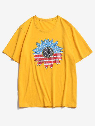 ZAFUL American Flag Sunflower Print T-shirt - Bright Yellow M