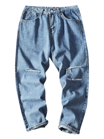 Space No Cowboy Distressed Ripped Jeans