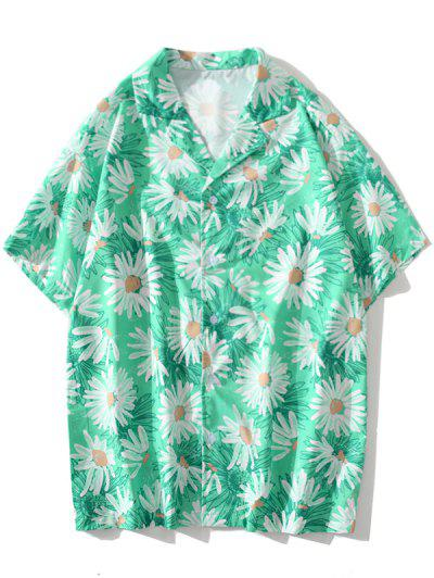 Daisy Allover Print Vacation Shirt - Aquamarine 2xl