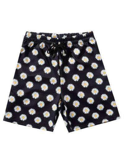 Daisy Print Vacation Shorts - Black 2xl