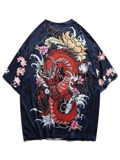 Dragon And Wave Print Drop Shoulder T-shirt - Navy Blue Xl
