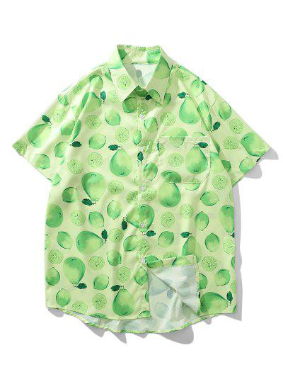 Lemon And Pear Print Chest Pocket Vacation Shirt - Green Apple L