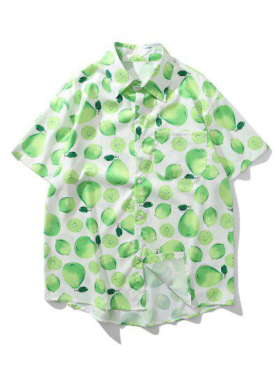 Lemon And Pear Print Chest Pocket Vacation Shirt - Mint Green M