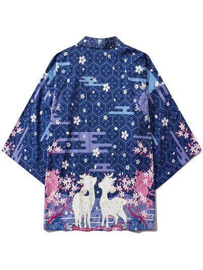 Floral Animal Graphic Print Open Front Kimono Cardigan - Blueberry Blue M