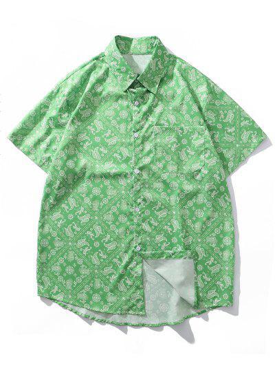 Paisley Bandana Print Pocket Vacation Shirt - Yellow Green L