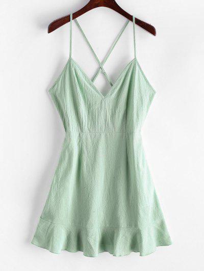ZAFUL Ruffles Criss Cross Solid Cami Dress - Light Green S