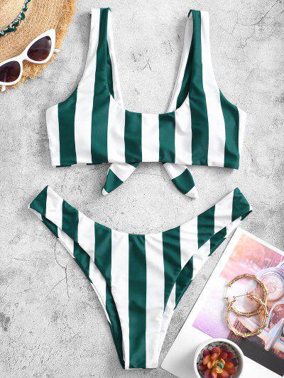 ZAFUL Knot Striped Bikini Set - Deep Green M