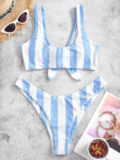 ZAFUL Knot Striped Bikini Set - Light Sky Blue M
