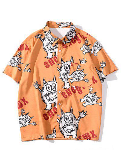 Funny Cartoon Letter Print Pocket Shirt - Halloween Orange 2xl