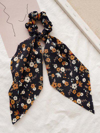 Tiny Floral Printed Big Bowknot Fabric Scrunchy - Black