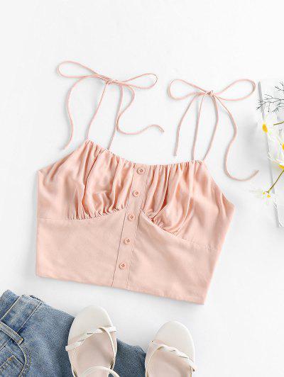 ZAFUL Smocked Tie Shoulder Crop Top - Pink M