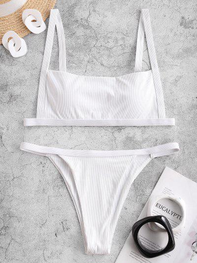 ZAFUL Square Ribbed String Bikini Swimwear - White L