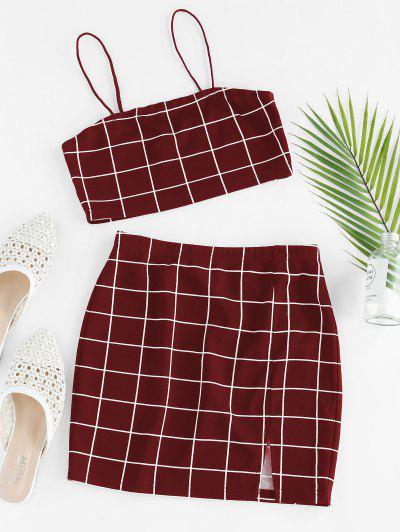 ZAFUL Grid Slit Cami Mini Skirt Set - Red Wine S