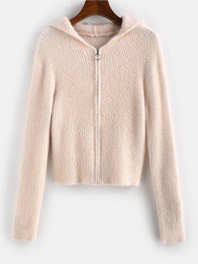 ZAFUL Fuzzy Zip Fly Hooded Cardigan - Sakura Pink M