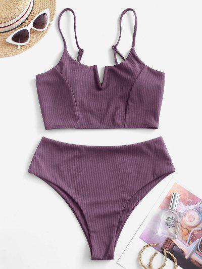 ZAFUL Ribbed V-notch Tankini Swimwear - Viola Purple M