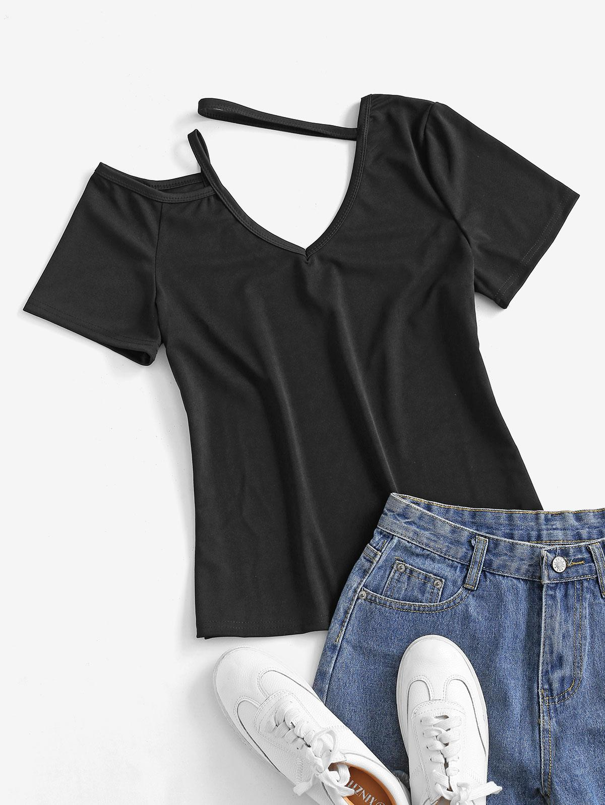 Cold Shoulder V Neck Solid Tee
