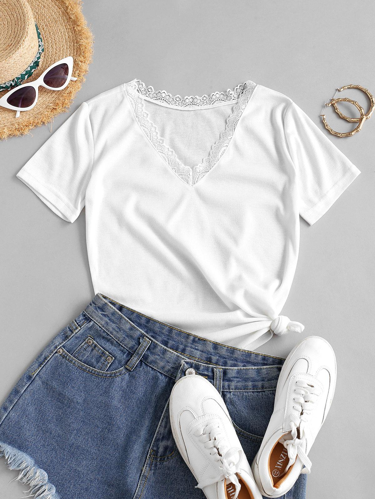 V Neck Solid Lace Trim Tee