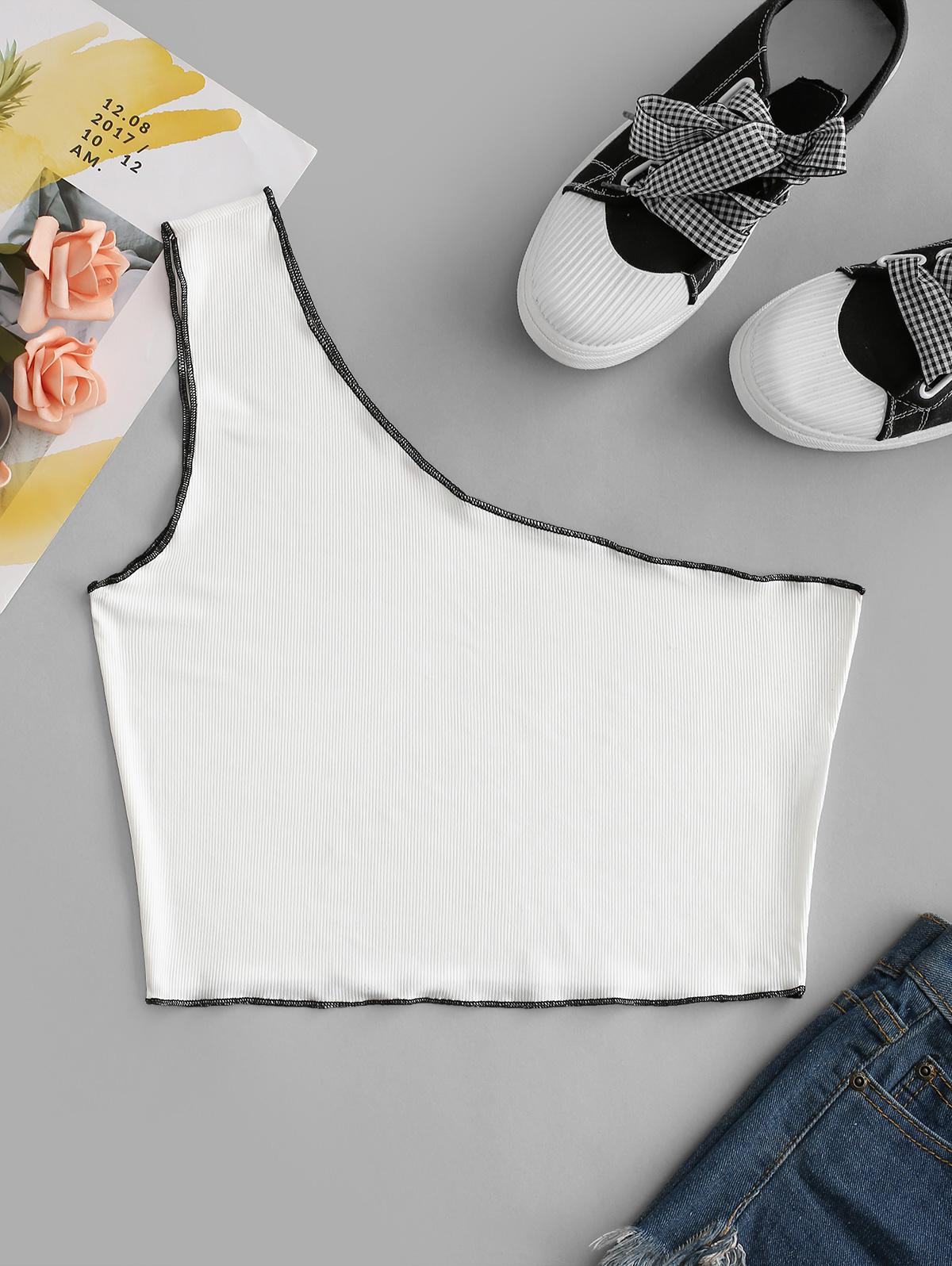 Ribbed One Shoulder Topstitch Crop Tank Top